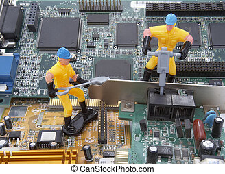 computer parts repair worker 3 - close up of computer parts...