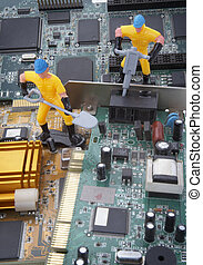 computer parts repair - close up of computer parts and toy...