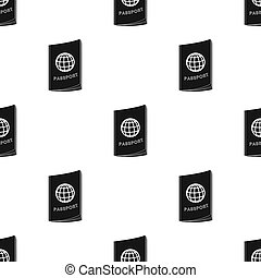 Passport icon in black style isolated on white background....
