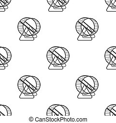 Wheel for rodents.Pet shop single icon in black style bitmap, raster symbol stock illustration web.