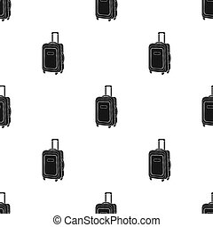 Travel luggage icon in black style isolated on white...