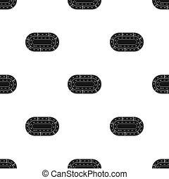 Hippodrome icon in black style isolated on white background. Hippodrome and horse symbol stock bitmap, raster illustration.