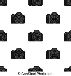 Digital camera icon in black style isolated on white...