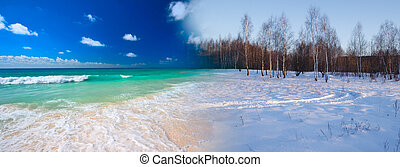 Summer transforming to winter - Seasons concept - beach...