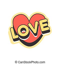 Love short message, retro speech bubble in the shape of a heart vector Illustration