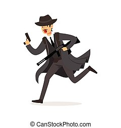 Mafia man character in gray coat and fedora hat running with...