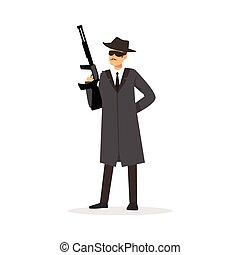 Mafia man character in gray coat and fedora hat holding...