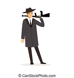 Mafia man character in gray coat and fedora hat standing...
