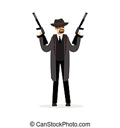 Mafia man character in gray coat and fedora hat holding two submachine guns vector Illustration