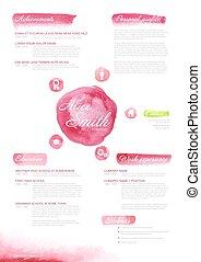 Watercolor original cv / resume template for women