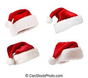 Santa hats isolated on white