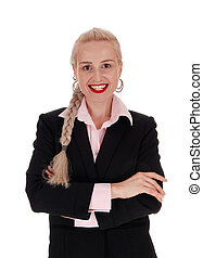 Smiling business woman with braid hair - A beautiful young...