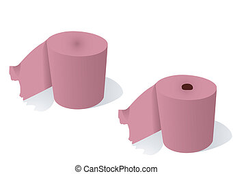 Hygienic paper - 2 rolls of a hygienic paper on a white...