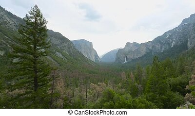 View of Yosemite valley in Yosemite National Park - Yosemite...