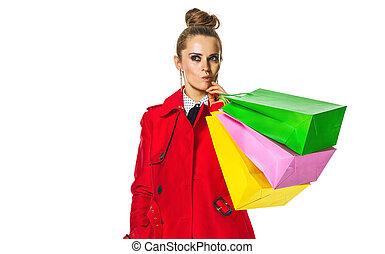 bolsas, compras de mujer, pensativo, chamarra, joven, rojo...