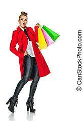mujer, comprador, espacio, mirar, moderno, blanco, copia,...