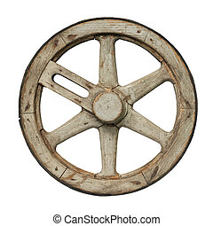 Old waggon wheel - Isolated objects: one very old wooden...