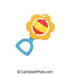 Vector rattle toy flat illustration isolated