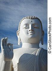 Buddha image - Closse up of white Buddha statue. Mihintale,...