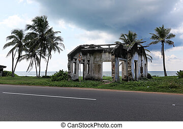 House ruined by tsunami Sri Lanka