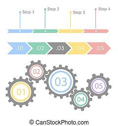 Progress statistic concept. Infographic vector template for presentation. Timeline statistical chart. Business flow process steps.