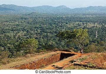 Ruins on top of Sigiriya rock. Sri Lanka
