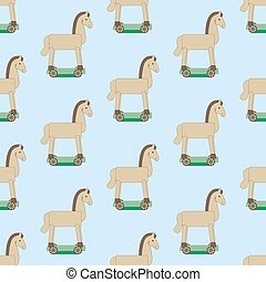 Wooden horse pattern on the blue background. Vector...