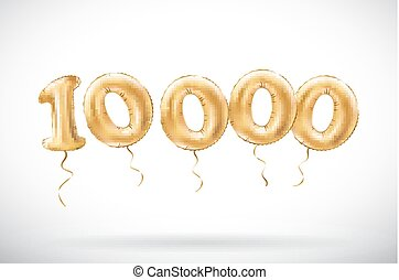 vector Golden number 10000 ten thousand metallic balloon....
