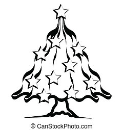 Christmas tree - Illustration of Christmas tree on a white...