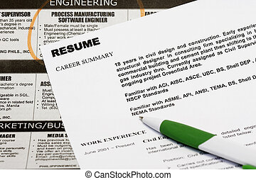 Resume - Jobs in the newspaper concept - with resume and a...