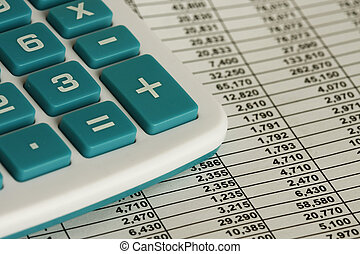 Calculating - Calculator and some spread sheet - macro shot....