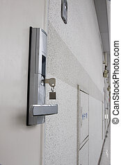 Modern Door Lock - a modern door lock with a key and with...
