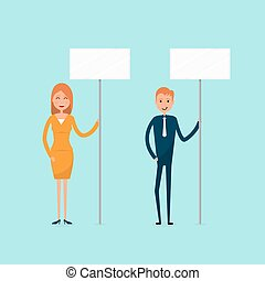 Businessman and businesswoman holding signboard, expressing demands and protesting, freedom of assembly, labour rights of picketing, influencing public opinion,copy space.Vector illustration