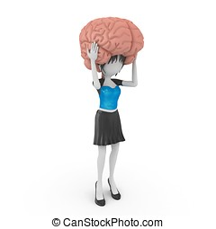 3d girl with brain model isolated on white