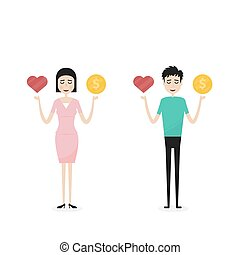 Businessman and Businesswoman,Businesspeople,Manager or Official with the golden coins and red heart icon on his hand.Concept of work and life balance.