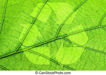 Recycling symbol on leaf