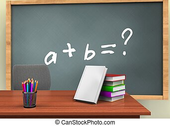 3d pencils - 3d illustration of chalkboard with math...