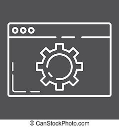Web optimization line icon, seo and development, browser sign vector graphics, a linear pattern on a black background, eps 10.
