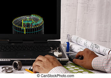 Storage Tank design - Engineer doing a 3d model review in...