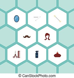 Flat Icons Hairdresser, Perfume, Whiskers And Other Vector Elements. Set Of Barber Flat Icons Symbols Also Includes Blade, Spray, Glass Objects.
