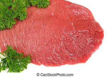 Red meat. Beef isolated against white background. Green...