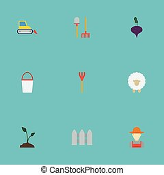 Flat Icons Cultivator, Lamb, Wooden Barrier And Other Vector...