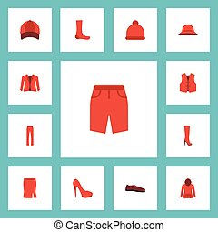 Flat Icons Waistcoat, Apparel, Elegant Headgear And Other Vector Elements. Set Of Garment Flat Icons Symbols Also Includes Pullover, Sweatshirt, Cap Objects.