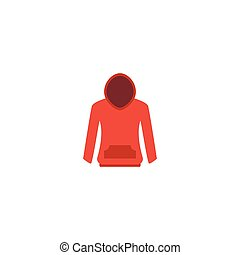 Flat Icon Hoodie Element. Vector Illustration Of Flat Icon Sweatshirt Isolated On Clean Background. Can Be Used As Hoodie, Sweatshirt And Pullover Symbols.