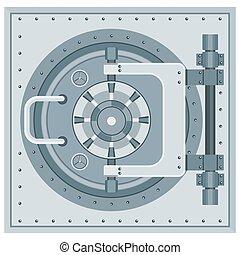 bank vault icon - Heavy metal door to safe. Bank vault door....