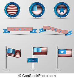 The vector set of design elements with usa...