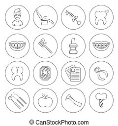 Set of dental in modern thin line style. High quality black outline teeth symbols for web site design and mobile apps. Simple dentistry pictograms on a white background.