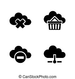 Computing cloud. Simple Related Vector Icons