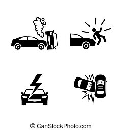 Crashed cars. Simple Related Vector Icons - Crashed Cars....