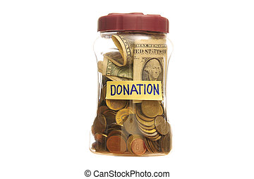 Donation in a Jar - Donation in a closed Jar over a white...
